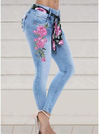 Geborduurd Bloemen Grote maat Lang Elegant Broodmager Spijkerbroek