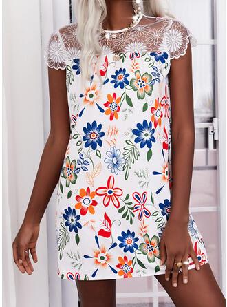 Print/Floral Lace Cap Sleeve Shift Above Knee Elegant Dresses