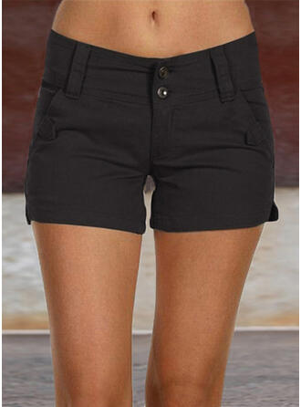 Zakken Shirred Grote maat Boven de knie Casual Sexy Solide Shorts
