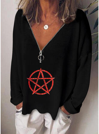 Geometrisch V-hals Lange Mouwen Casual Overhemd