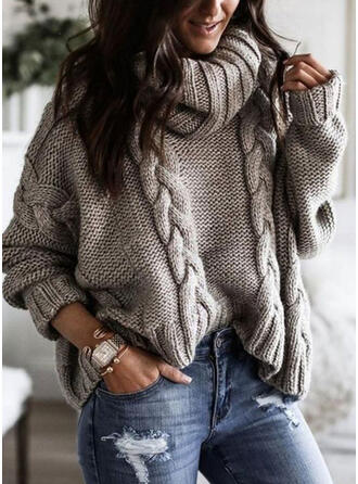 Solid Cable-knit Chunky knit Turtleneck Casual Sweaters