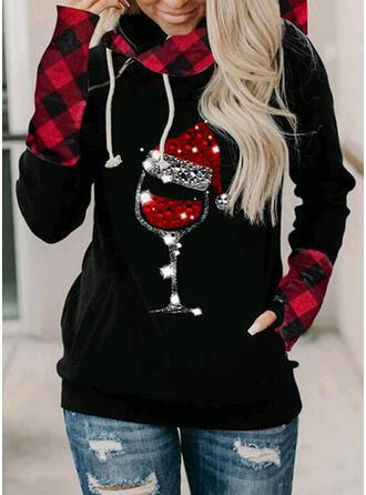 Print pailletten Lange Mouwen Kerst Sweatshirt
