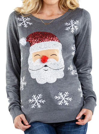 Dames Polyester Print De Kerstman Lelijke kerstsweater