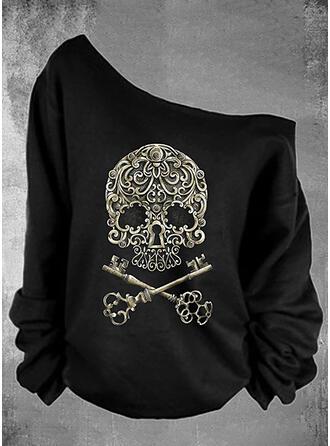 Print Halloween One Shoulder Lange Mouwen Sweatshirts