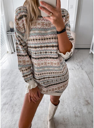 Print Knit Long Sleeves Shift Knee Length Casual Sweater Dresses