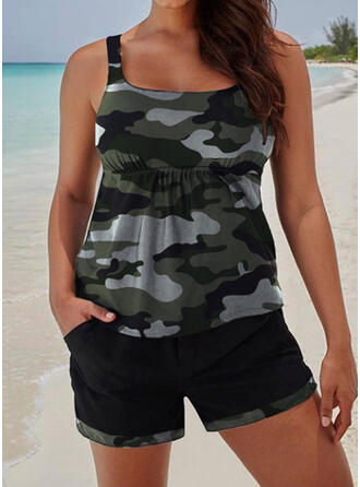 Stripe Strap U-Neck Retro Tankinis Swimsuits
