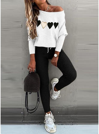 Heart Print Casual Plus Size Blouse & Two-Piece Outfits Set