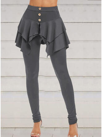 Solid Plus Size Halloween Long Casual Elegant Sporty Leggings