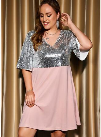 Color Block Sequins Short Sleeves A-line Knee Length Party/Plus Size Skater Dresses