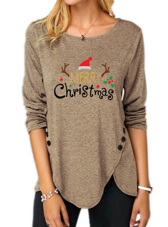 Print Figure Round Neck Long Sleeves Casual Christmas Blouses
