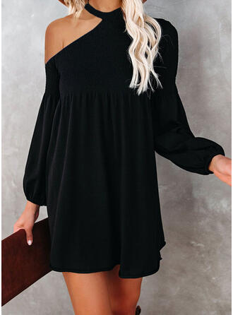 Solid Long Sleeves/Lantern Sleeve Shift Above Knee Little Black/Elegant Dresses