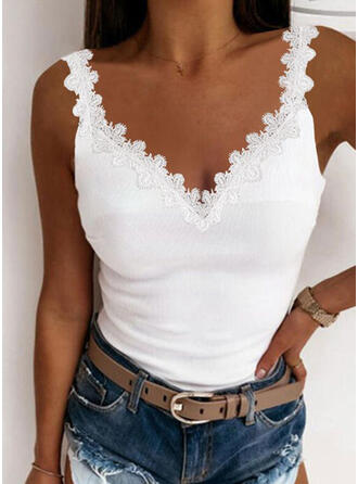 Solid Lace Strap Sleeveless Tank Tops