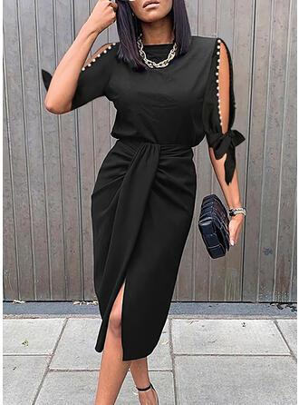 Solid/Beaded 1/2 Sleeves/Split Sleeve Sheath Knee Length Little Black/Elegant Dresses