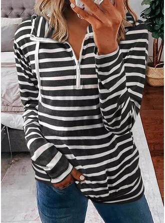 Print Striped Hooded Long Sleeves Hoodie