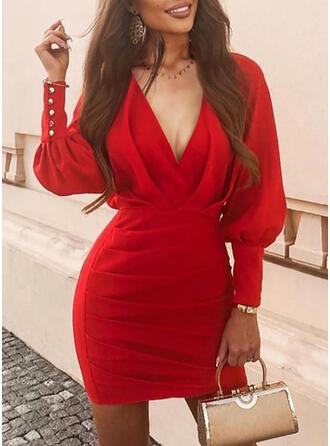 Solid Long Sleeves/Lantern Sleeve Bodycon Above Knee Party/Elegant Dresses