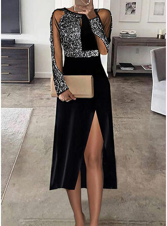 Print Long Sleeves A-line Skater Party Midi Dresses