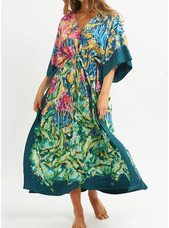 Print V-hals retro Geweldig Prachtige Badjassen Badpakken