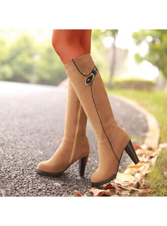 Women's Suede Cone Heel Knee High Boots Round Toe With Zipper shoes