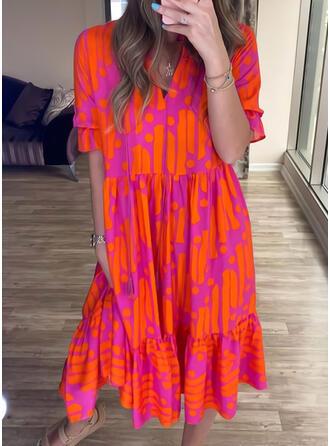Print Short Sleeves Shift Tunic Casual/Vacation Midi Dresses