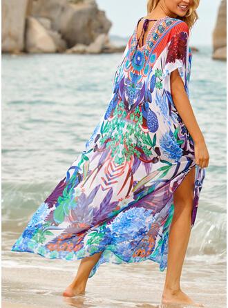 Splice kleur Tropische afdruk Lace Up V-hals Boheems Kleurrijk Badjassen Badpakken