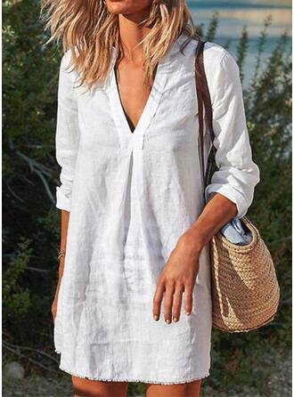 Effen kleur V-hals Elegant Mooi Grote maat Boho Badjassen Badpakken