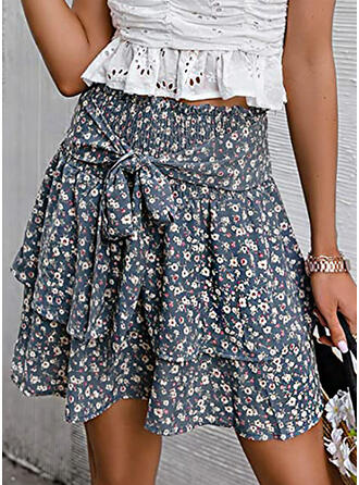 Chiffon Print Floral Above Knee A-Line Skirts
