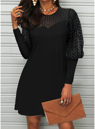 Solid Lace Long Sleeves Lantern Sleeve Shift Above Knee Little Black/Casual Dresses