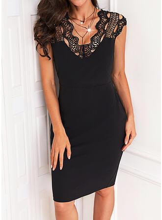 Solid Lace Short Sleeves Cap Sleeve Sheath Knee Length Little Black/Elegant Dresses