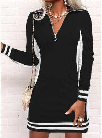 Print/Color Block/Striped/Letter Long Sleeves Sheath Above Knee Casual Dresses