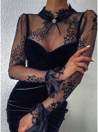 Kant/Solide Lange Mouwen Bodycon Boven de knie Zwart jurkje/Feest Jurken