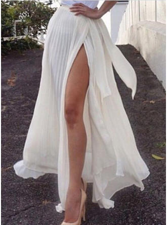 Chiffon Plain Maxi High-Slit Skirts