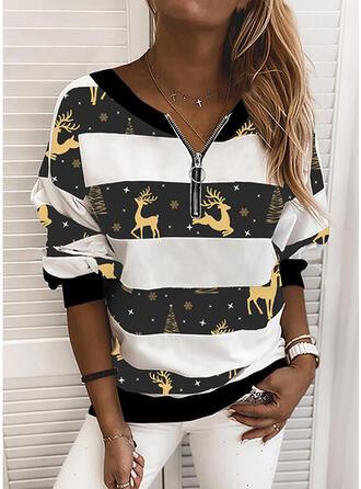 Color Block Dierenprint V-hals Lange Mouwen Kerst Sweatshirt