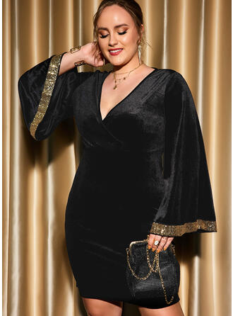 Print Long Sleeves Flare Sleeve Sheath Above Knee Little Black/Party/Plus Size Dresses