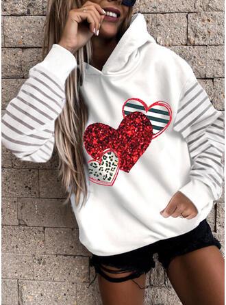 Print Striped Leopard Heart Long Sleeves Hoodie