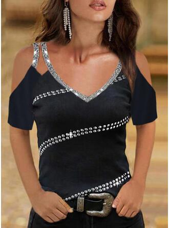 Solid Sequins Cold Shoulder Short Sleeves Cold Shoulder Sleeve Casual Blouses