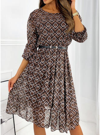 Print Long Sleeves A-line Knee Length Casual Skater Dresses