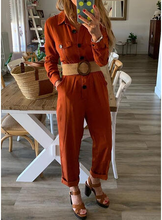 Solid Cotton Lapel Long Sleeves Casual Jumpsuit