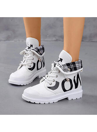 Women's Canvas PU Low Heel Closed Toe Boots High Top Round Toe Martin Boots With Lace-up shoes