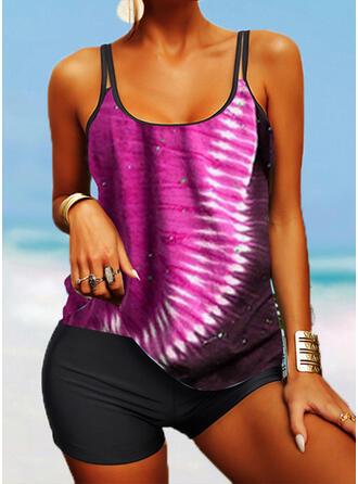 Stripe Splice color Strap U-Neck Vintage Boho Tankinis Swimsuits