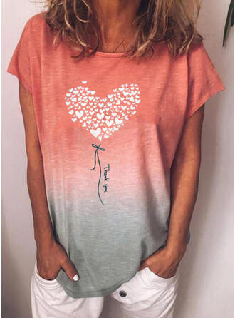 Gradient Heart Print Letter Round Neck Short Sleeves T-shirts