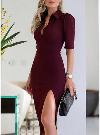 Solid 1/2 Sleeves Sheath Knee Length Elegant Dresses