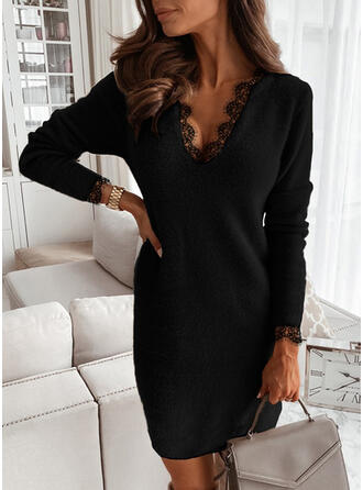 Solid Lace V-Neck Casual Long Sweater Dress