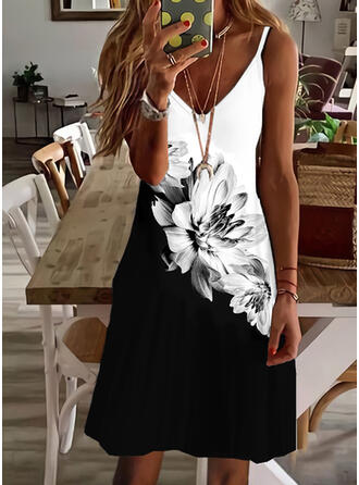 Print/Floral/Color Block Sleeveless A-line Above Knee Casual/Vacation Slip/Skater Dresses