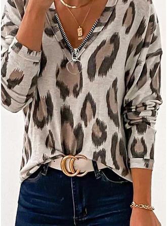luipaard V-hals Lange Mouwen Casual Overhemd