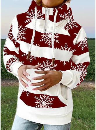 Print Color Block High Neck Long Sleeves Sweatshirt