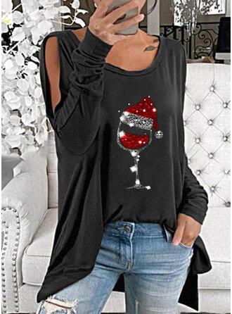 Pailletten Cold Shoulder Lange Mouwen Kerstmis Overhemd