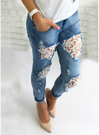 Patchwork Pockets Shirred Elegant Sexy Lace Denim & Jeans