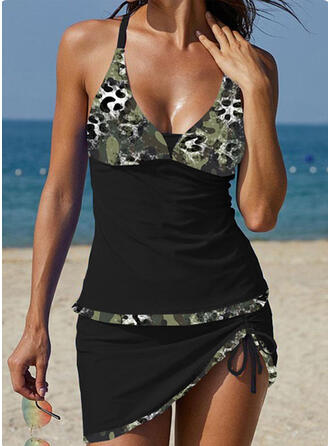 Splice color Strap V-Neck Classic Plus Size Tankinis Swimsuits