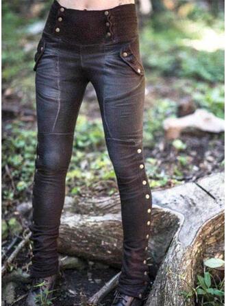 Pockets Shirred Plus Size Long Sexy Skinny Tribal Leggings