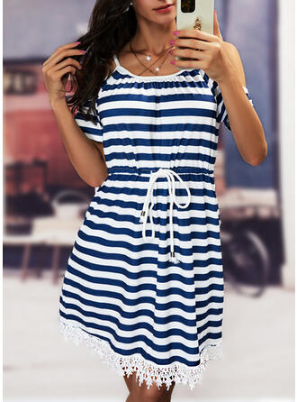 Print/Striped Lace Short Sleeves Cold Shoulder Sleeve A-line Knee Length Casual Skater Dresses